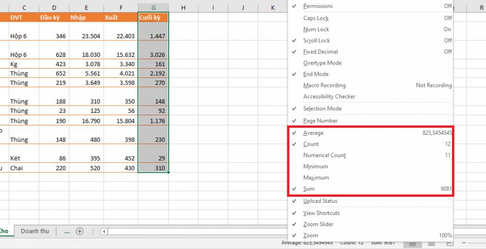 Mách bạn mẹo xem thống kê số liệu cực nhanh trong Microsoft Excel  1