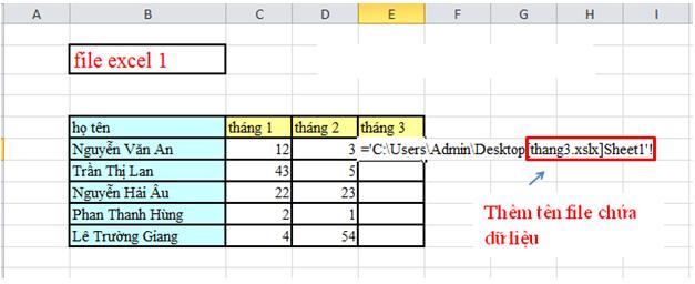 Cách link dữ liệu giữa các file excel với nhau 4