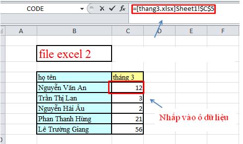 Cách link dữ liệu giữa các file excel với nhau 5