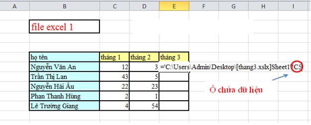 Cách link dữ liệu giữa các file excel với nhau 6