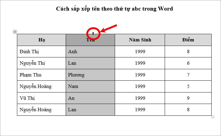 Sắp xếp tên theo thứ tự ABC trong Word