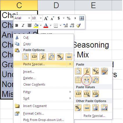 chức năng của Paste trong Excel
