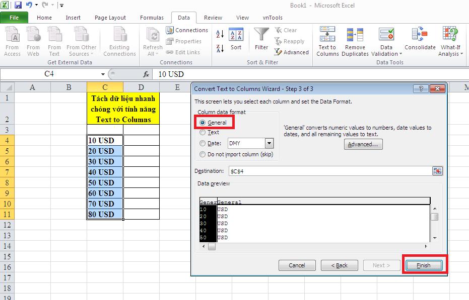 Tách dữ liệu nhanh chóng với Text to Columns 4