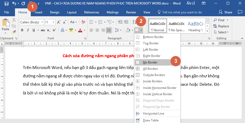 Xóa đường nằm ngang trong văn bản trên Microsoft Word 1