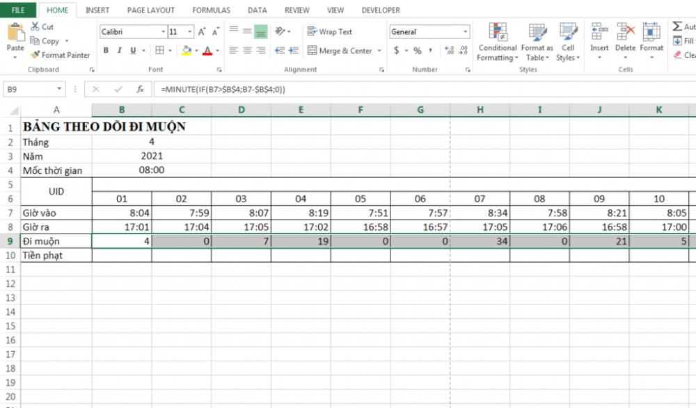Hướng dẫn cách tính tiền phạt nhân viên đi làm muộn trên Excel
