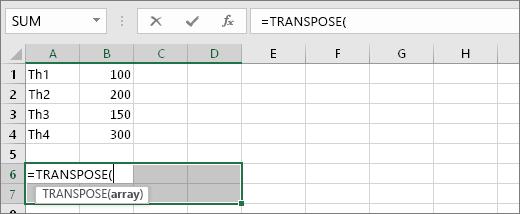 Sử dụng trực tiếp hàm TRANSPOSE đổi cột thành hàng 3