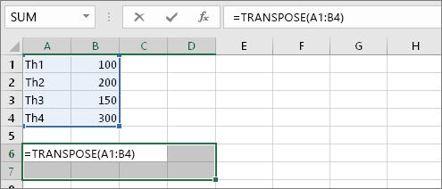 Sử dụng trực tiếp hàm TRANSPOSE đổi cột thành hàng 4