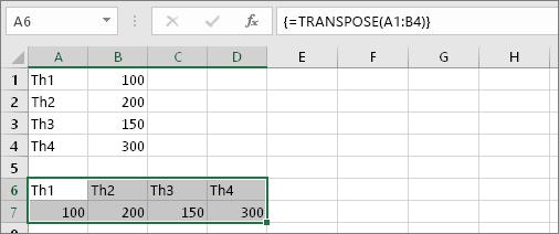 Sử dụng trực tiếp hàm TRANSPOSE đổi cột thành hàng 5