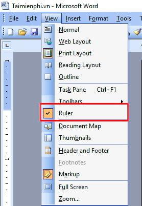 Hô biến thanh Ruler xuất hiện trong văn bản Word 2003