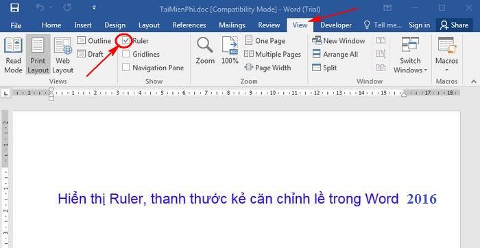 Hô biến thanh Ruler xuất hiện trong văn bản Word 2016