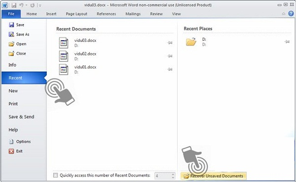 Khôi phục lại Excel 2010 chưa kịp lưu