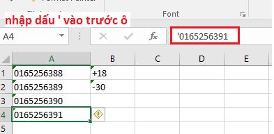 Sử dụng tính năng chuyển đổi định dạng sang định dạng text bằng cách nhập dấu ' trước khi nhập thông tin số 0