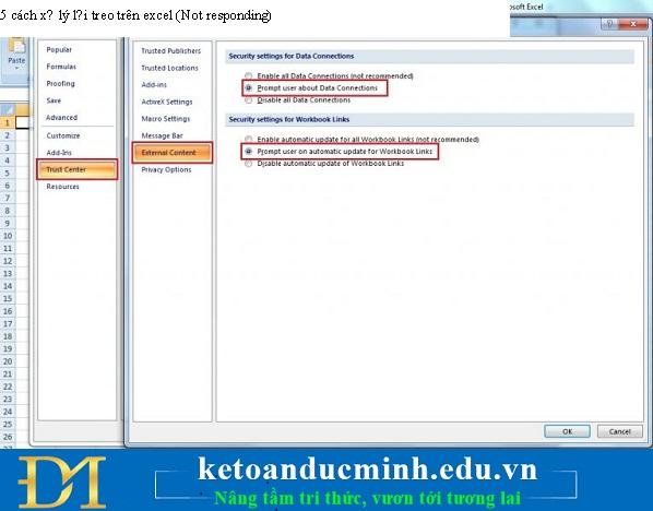 cách xử lý lỗi treo trên excel - Kiểm tra external links
