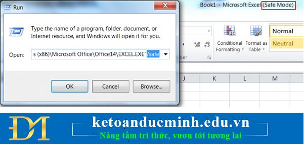 Chạy Excel ở chế độ Safe Mode -  xử lý lỗi treo trên excel