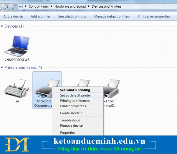Thay đổi máy in mặc định - xử lý lỗi treo trên excel