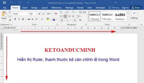 Hô biến thanh Ruler xuất hiện trong văn bản Word