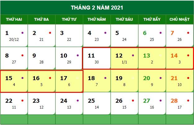 Thông tin về lịch nghỉ Tết Dương lịch, Tết Âm lịch 2021