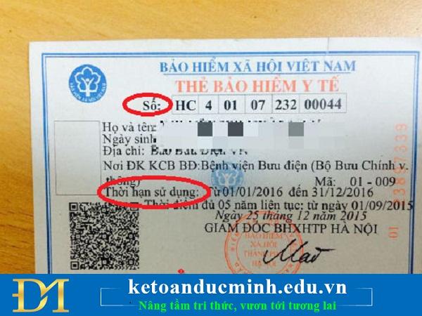 """mã thẻ bảo hiểm y tế: Thay thế từ """"Số"""" in trên thẻ BHYT bằng cụm từ """"Mã số"""""""
