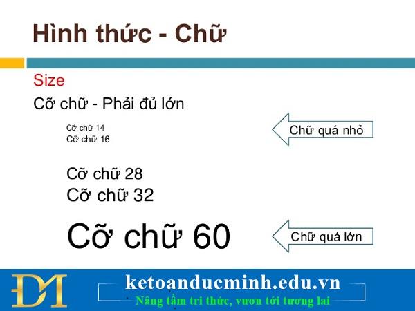 Cỡ chữ trong slide