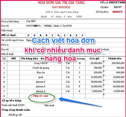 Cách viết hóa đơn có nhiều danh mục hàng hóa - Hóa đơn số 1