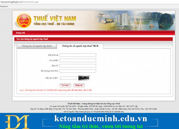 cách truy dò tìm check kiểm tra cứu mã số thuế thu nhập cá nhân online (tncn online) bằng chứng minh thư cmnd
