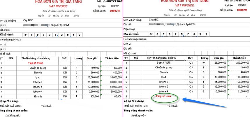 Các hóa đơn liệt kê đủ các mặt hàng theo thứ tự liên tục từ hóa đơn này đến hóa đơn khác