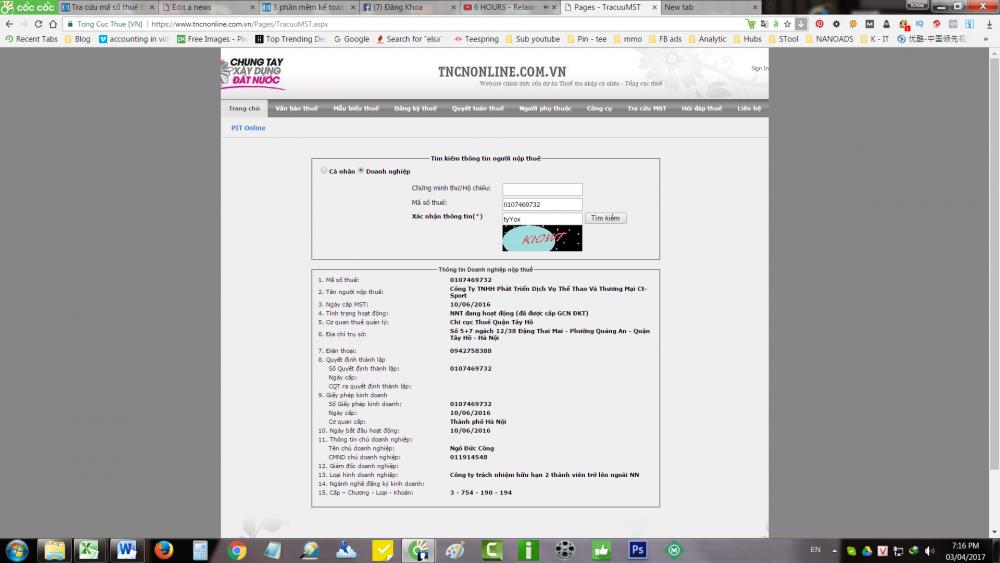 tra cứu thông tin doanh nghiệp qua mã số thuế online