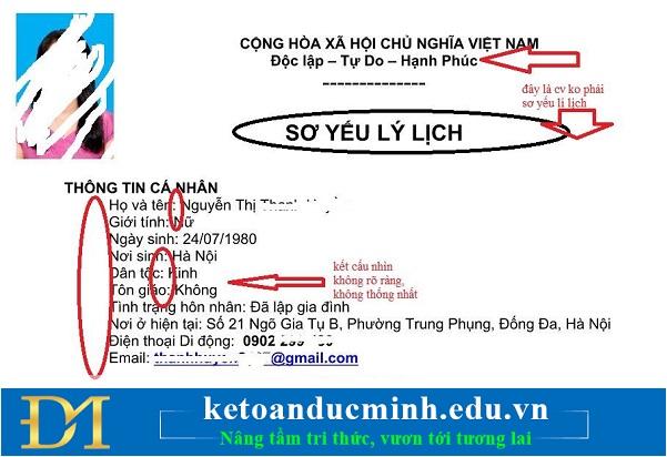 CV như một bản sơ yếu lí lịch với đầy đủ Cộng Hòa Xã Hội Chủ Nghĩa Việt Nam