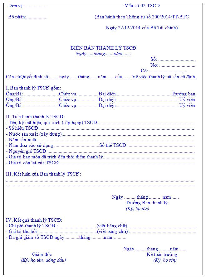 Biên bản thanh lý tài sản cố định theo TT200