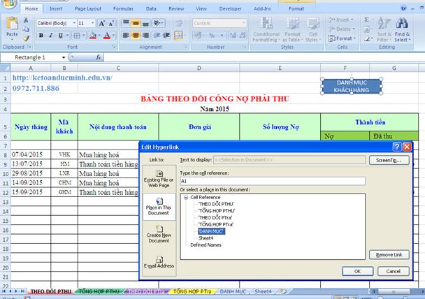 Cách tạo liên kết Hyperlink giữa các sheet trong excel