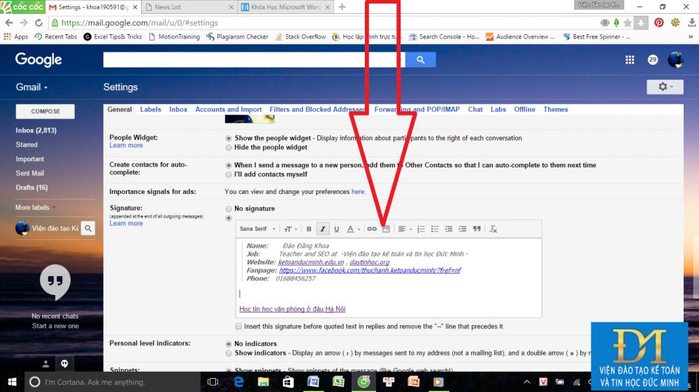 tạo chữ ký trong gmail đức minh 9