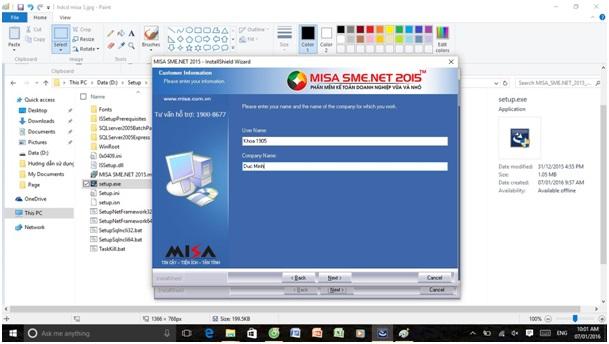 Huớng dẫn cài đặt phần mềm kế toán misa7