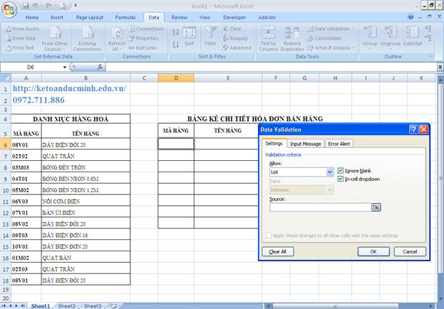 Cách tạo danh sách xổ xuống trong Excel 2