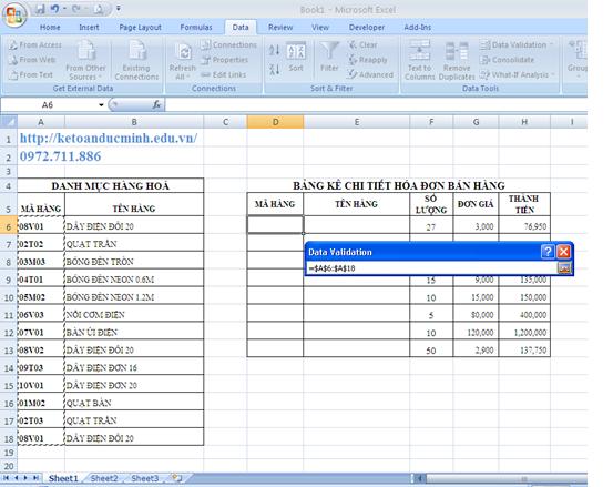 Cách tạo danh sách xổ xuống trong Excel 3