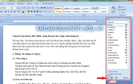 cách tạo mục lục tự đông trong word 2007 - tin học đức minh 2