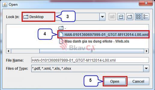 Trong cửa sổ OPEN chọn thư mục lưu các tệp tờ khai đã kết xuất và chọn tờ khai mà  muốn nộp