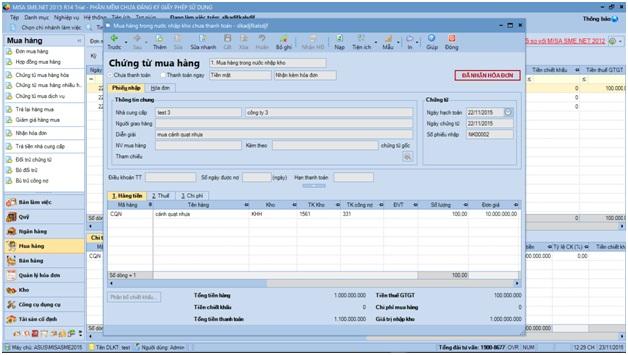 lỗi trong phần mềm kế toán misa 2015-5