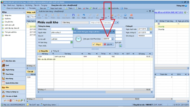 lỗi trong phần mềm kế toán misa 2015-7