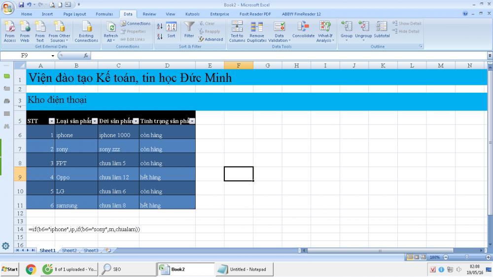 quản lý hàng hóa bằng Data Validation trong Excel cực hay