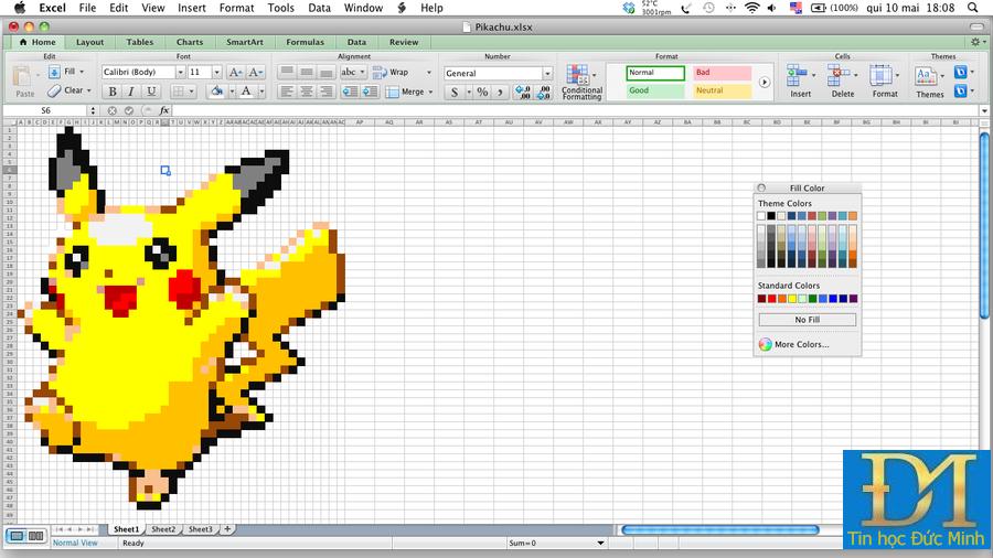 tin học văn phòng excel pikachu