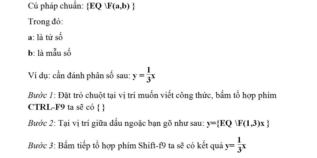Cách gõ phân số trong Word