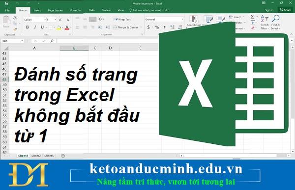 Đánh số trang trong Excel không bắt đầu từ 1 – Kế toán Đức Minh.