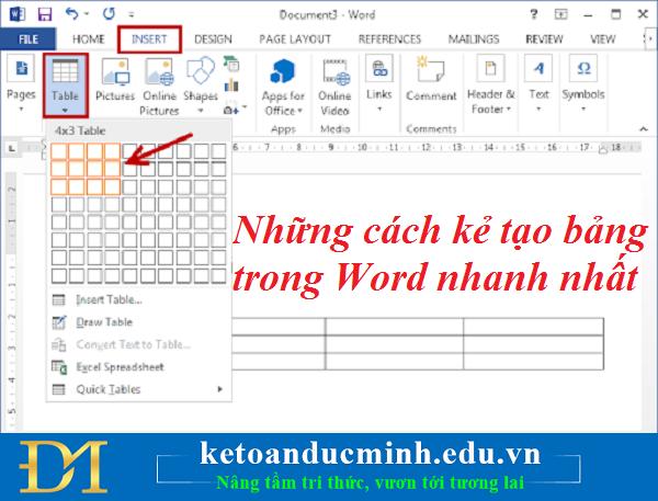 Những cách kẻ tạo bảng trong Word nhanh nhất – Kế toán Đức Minh.