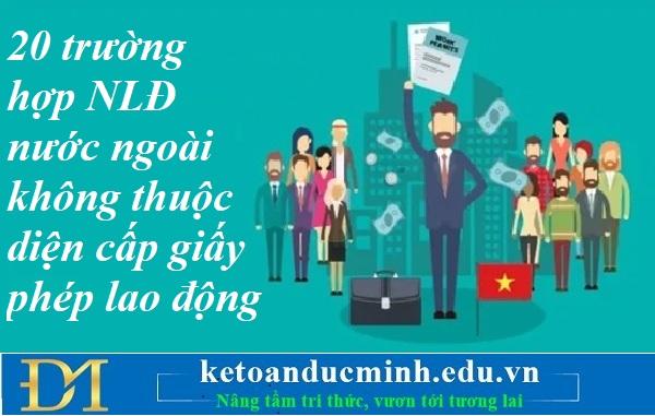 20 trường hợp NLĐ nước ngoài không thuộc diện cấp giấy phép lao động – Kế toán Đức Minh.