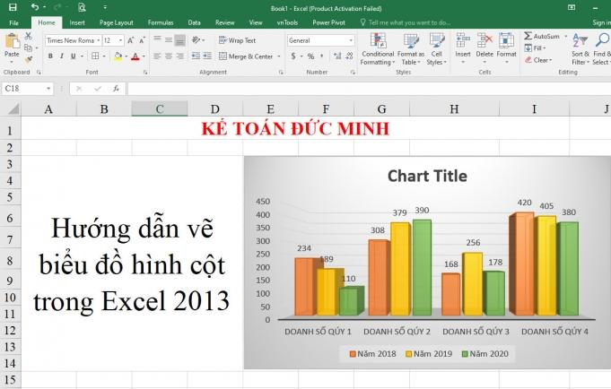 Cách vẽ biểu đồ hình cột trong Excel 2013