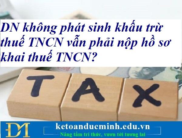 DN không phát sinh khấu trừ thuế TNCN vẫn phải nộp hồ sơ khai thuế TNCN? Kế toán Đức Minh.