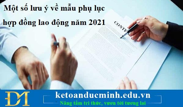 Một số lưu ý về mẫu phụ lục hợp đồng lao động năm 2021 – Kế toán Đức Minh