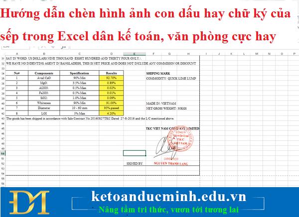Hướng Dẫn Chèn Hình Ảnh Con Dấu Hay Chữ Ký Của Sếp Trong Excel Cho Dân