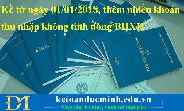 Kể từ ngày 01/01/2018, thêm nhiều khoản thu nhập không tính đóng BHXH