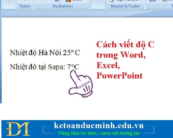 Cách viết độ C trong Word, Excel và Powerpoint - Kế toán Đức Minh.